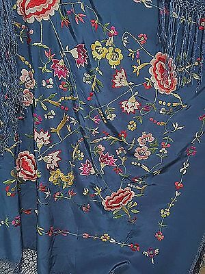 """Silk Embroidered Piano Shawl Wrap Blue Floral 36"""" Square + 9"""" Fringe Vintage"""