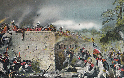The Battle Of Waterloo Massacre Soldiers Killed 1917 War Painting Postcard