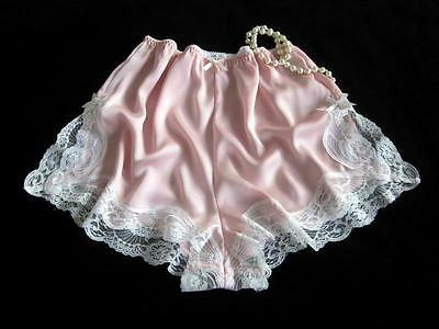 Lacy Pink Satin French Knickers XL NEW Soft Silky Drapey Panties Vintage Style