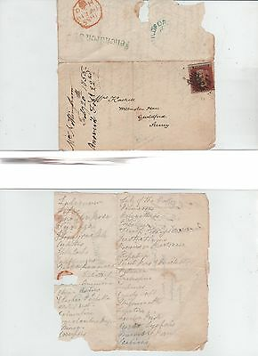 GB QV  1855  Wrapper 1d Red SG17 With Frenchurch St Receiver  Interesting List r