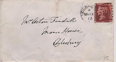 GB QV Cover 1865 1d Red SG43 {PC} PL 85 London 89 West Dist Duplex to Aylesbury.