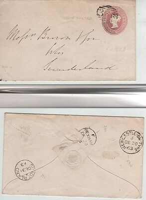 """GB QV 1850 Penny Pink """"Dispatch"""" Cover by Waterloo & Sons Hexham 360 Numeral to"""