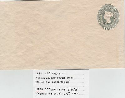 GB QV  Printed Stationery Envelope EP34 21/2d size D 1892.