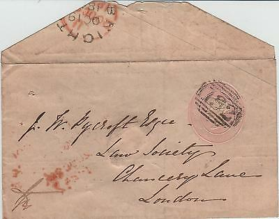 GB QV 1845 Penny Pink Stationery Cover Die 62 on Neck, Brighton 132 Numeral to