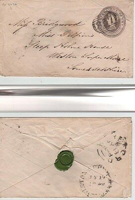 GB QV Penny Pink stationery1844  Cover Die72 EP4a Hereford 357 Numeral to Weston