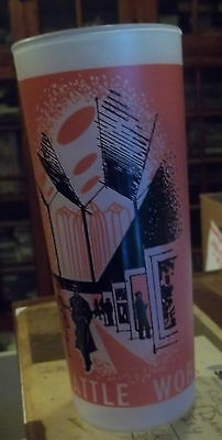 Frosted Glass Tumbler Seattle Worlds Fair 1962 Exposition 6-1/2 inch souvenir