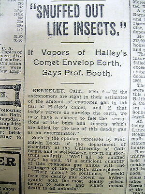 3 1910 newspapers Return of HALLEY'S COMET threatens to ERADICATE LIFE on EARTH