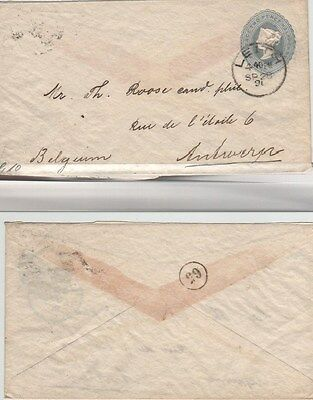 GB QV 1896 Printed Stationery Envelope 21/2d Leith to Antwerp Circled 65 on rev