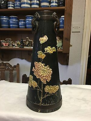 Bretby Art Pottery, Ligna Ware Wood Effect Vase, 3 Rings, Applied Flowers C1906