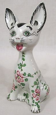 Vintage Ceramic Cat Figurine Made in Italy Handpainted Floral Body