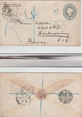 GB QV Registered Printed Stationery Envelope EP34 21/2d to Montmorency Extra 2d