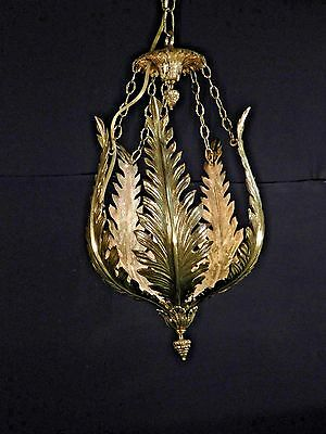 ANTIQUE French Brass or Bronze Palm Frond Hanging Lantern Chandelier
