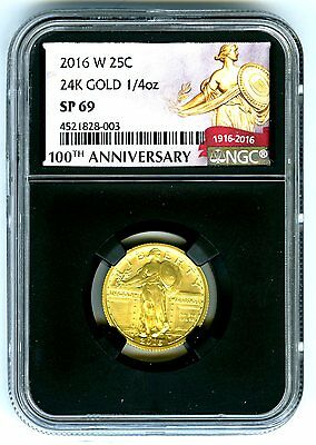 2016 W 1/4 Oz Standing Liberty 24K Gold Quarter Ngc Sp69 Black Retro Holder !