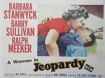 Old Original 1953 Movie Lobby Card A Woman in Jeopardy Barbara Stanwyck