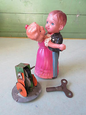 Old Vintage Key Wind Up Celluloid Dancing Couple Toy Japan