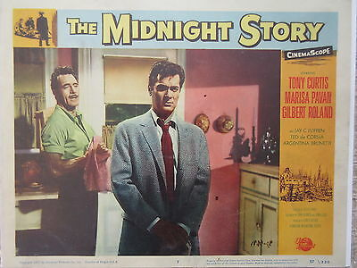 Old Original 1957 Movie Lobby Card The Midnight Story Tony Curtis