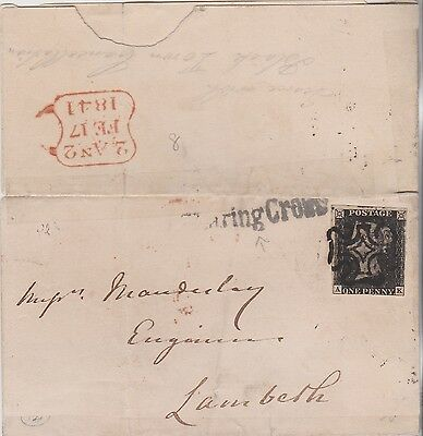 WOW QV COVER 1841 WITH FINE LONDON 1d PENNY BLACK STAMP PLATE 8 HI CAT $944+