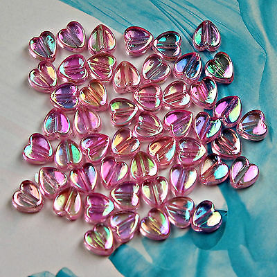 500 x Pink Heart Charms / Beads PInk colour 5mm Jewellery Making  #154 ~