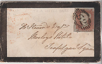 1851 QV SMALL MOURNING COVER WITH 3 MARGIN 1d RED IMPERF STAMP TO A COFFEE HOUSE