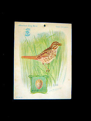 Victorian Card=Singer Sewing Machine=SONG SPARROW=American Song Bird