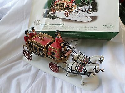 """Dept 56 Dickens' Village Christmas Queen's Parliamentary Coach"""" Horse & Carriage"""