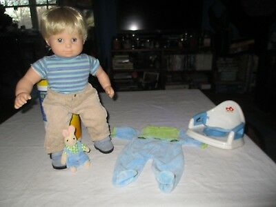 American Girl: Bitty Twin Blonde Boy Doll 2 outfits & Toilet Seat