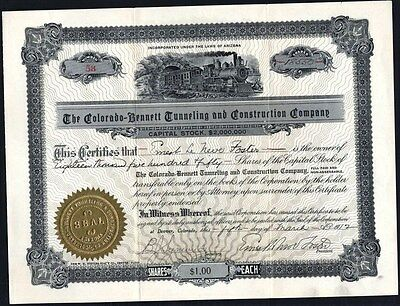 Colorado - Bennett Tunneling And Construction Co., 1912, Uncancelled Stock Cft.
