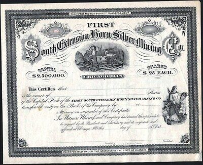 First South Extension Horn Silver Mining Co, Chicago, Il, 18-- Unissued, Crisp
