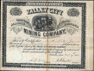 Valley City Mining Co, Clinton, Iowa, Mines Custer And Fremont County, Co. 1880