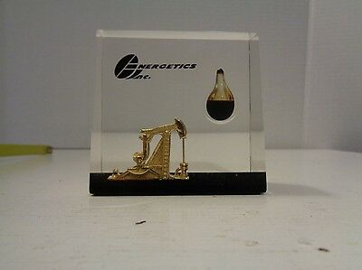 Energetics Inc Petroleum Oil Rig Lucite Paperweight Drop of Oil VSE Aviation