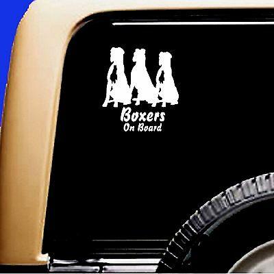 Boxers On Board boxer Trio Dog Natural Ears Vinyl Car Decal Sticker
