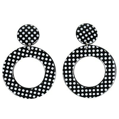 50s Black with White Dots Ladies Costume Clip On Earrings