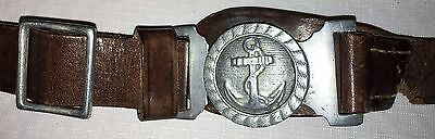 Original WWII Japanese NLF Naval Landing Forces Leather Belt and Buckle Captured