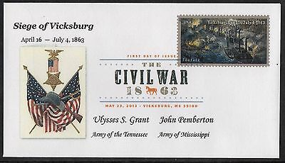 Siege Of Vicksburg, Ms ** The Civil War ** First Day Cover  ** May 23, 2013