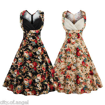 Womens Retro Vintage 50s 60s Rockabilly Floral Club Summer Swing Party Tea Dress