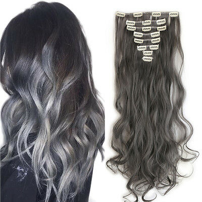 """New Natural Full Head Clip in Hair Extensions 24"""" Long Curly dark grey for human"""