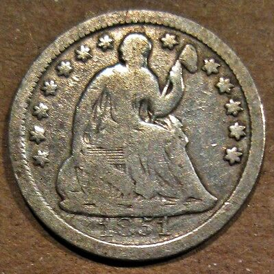 U.s. 1851 Liberty Seated 90% Silver Half Dime Coin (Km#62.2)