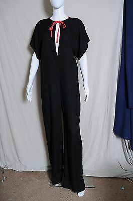 Vintage 70s NOS Black Women's Disco Body Suit with plunging neck bell bottoms 11
