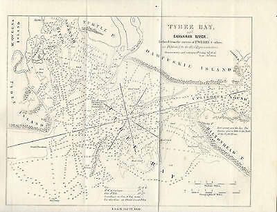 1854 Antique Nautical Map of Savannah River. Tybee Bay