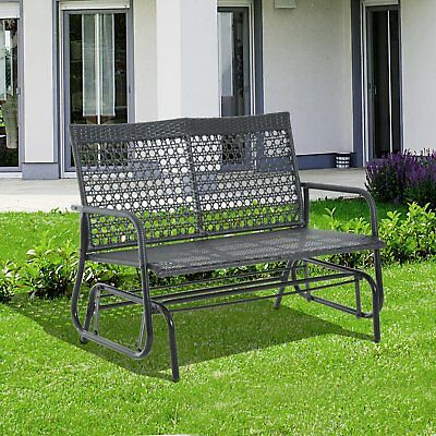 """Outsunny 30"""" x 47"""" x 35"""" Wicker Glider Swing Chair Patio Garden Bench Outdoor"""
