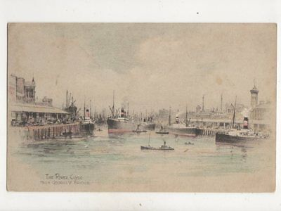 The River Clyde From George V Bridge Glasgow Andrew Allan Art Postcard 363b
