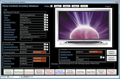 Home Contents Inventory Database Software Win7/8/10 XP Vista