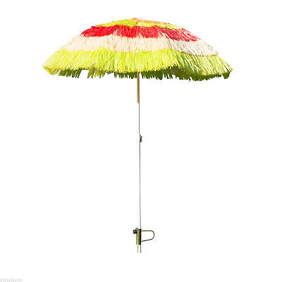 Outsunny 6ft Outdoor Patio Beach Umbrella Wide Thatched Yard Crank Tilt Shades