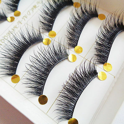 10 Pairs Pretty Long Cross False Eyelashes Makeup Natural Fake Thick Eye Lashes