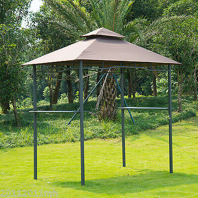 8'x 5' Double-Tier BBQ Grill Gazebo Tent Pavilion Grill Shelter Patio Deck Cover