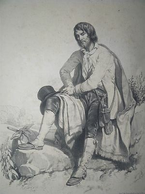 Figures Pittoresques Paysane Tracht Mode Mann Ferogio Lithographie 1845