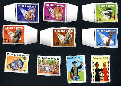 ZIMBABWE 2002 LOCAL CRAFTS + 2004 CONSERVATION Butterfly + WOMEN Empower   MNH