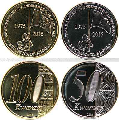 ANGOLA (2) 50 + 100 Kwanzas 2015 UNC (KM# new) '40 Years of Independence' neu!