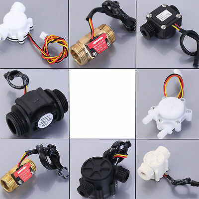 "Water Flow Hall Sensor Switch PE Pipe Flow meter Counter Control  G1/4""/G1/2"""