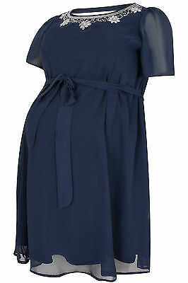 Plus Size Womens Bump It Up Maternity Chiffon Dress With Embellished Neckline